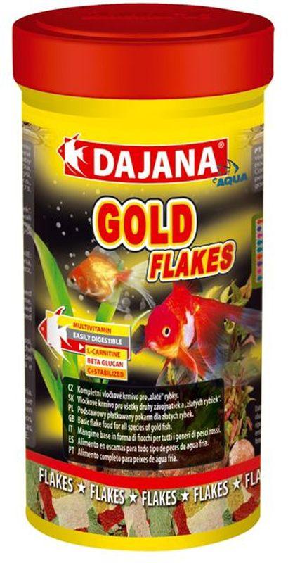 Корм для рыб Dajana Gold Flakes, 250 млDP001BКомплексный хлопьеобразный корм для золотых рыбок. Содержит натуральные вещества природные колоранты, минералы и витамины, которые поддерживают красоту, здоровье, иммунитет и естественную окраску рыб.