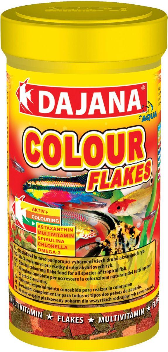 Корм для рыб Dajana Colour Flakes, 250 млDP002BСпециальный хлопьеобразный корм для всех видов рыб на каждый день. Корм содержит натуральные вещества, способ ствующие красивой и естественной окраске рыб.