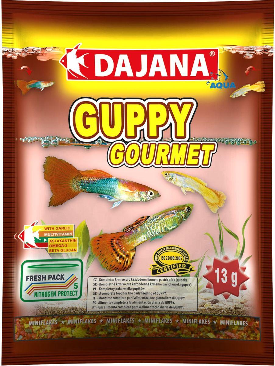 Корм для рыб Dajana Guppy Gourmet Flakes, 80 млDP003SКомплексный хлопьеобразный корм для рыбок, предназначенный для ежедневного кормления гуппи. Корм содержит высокую долю чеснока, белков, витаминов и минералов, способствуя благополучному росту и здоровью рыб. Корм легко принимается и усваивается.