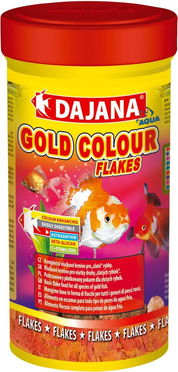 Корм для рыб Dajana Gold Colour Flakes, 250 млDP004BКомплексный хлопьеобразный корм для золотых рыбок. Корм содержит специальные добавки, способствующие интенсивному блестящему окрасу рыб, а также водоросли Spirulina, Chlorella и Astaxanthina
