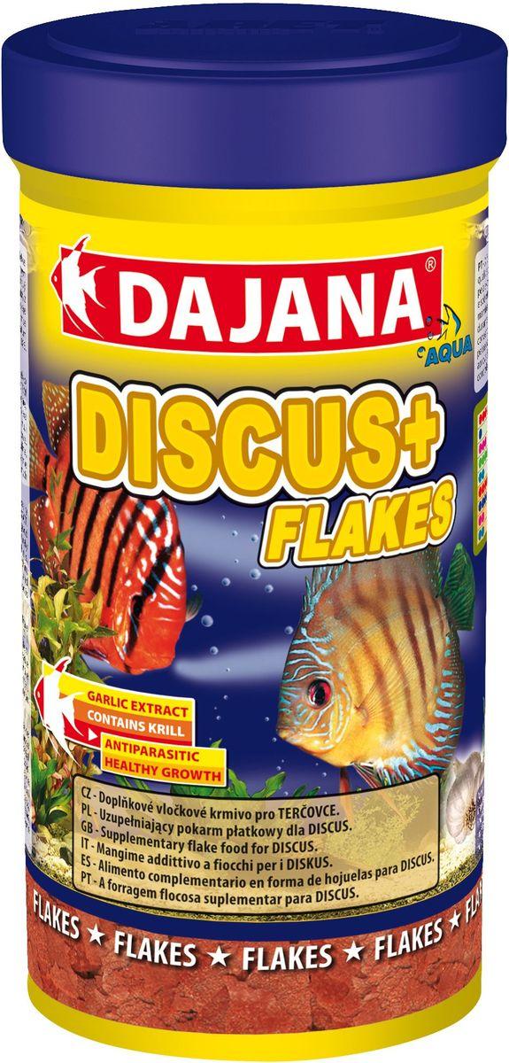 Корм для рыб Dajana Discus Plus Flakes, 250 млDP008BДополнительный хлопьеобразный корм для дискусов. Хлопья из высококачественного и легкоусвояемого сырья. Корм обогащен планктоном и экстактом чеснока. Обладает противопаразитными свойствами.