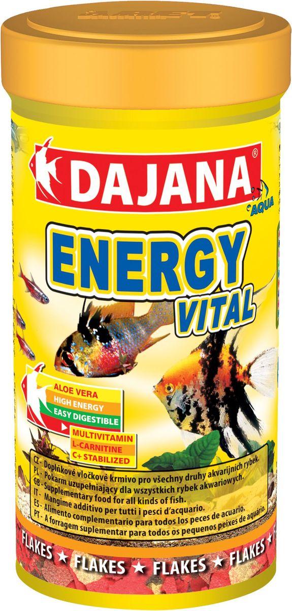 Корм для рыб Dajana Energy Vital Flakes, 100 млDP009AДополнительный корм для всех видов аквариумных рыб с экстрактом алое-веры и L-карнитина оказывает положительное воздействие на пищеварительную систему.