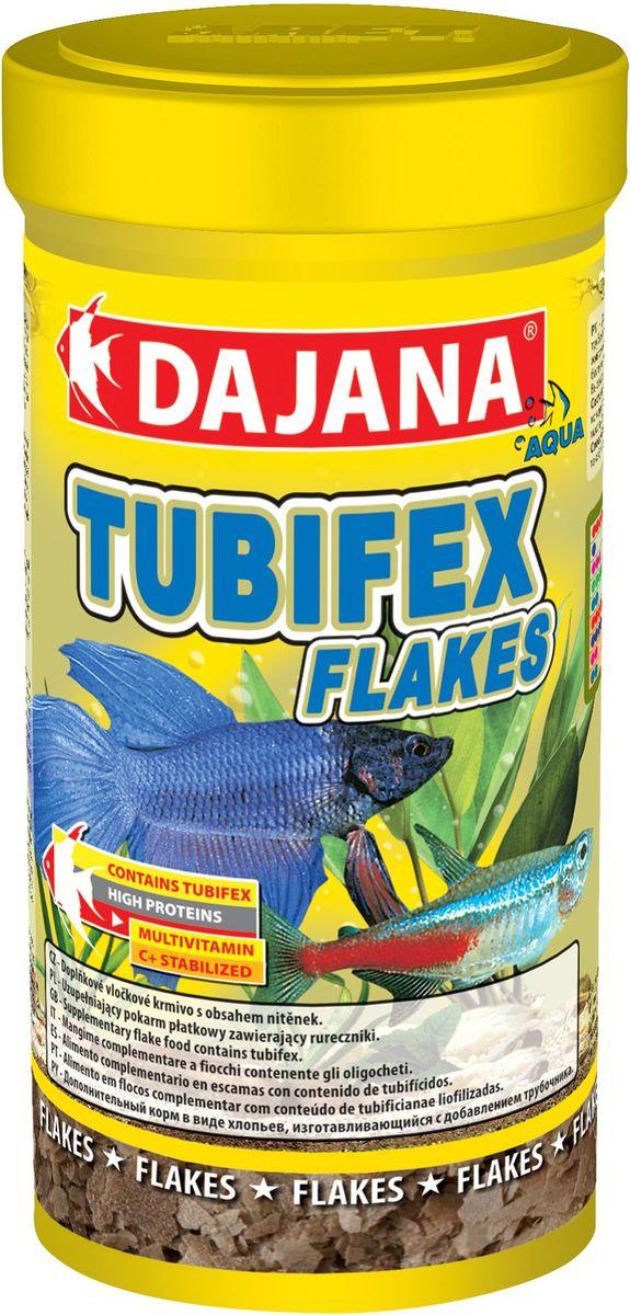 Корм для рыб Dajana Tubifex Flakes, 100 млDP010AСпециальный хлопьеобразный корм для всех видов аквариумных рыб, водяных пресмыкающихся и террариумных животных, содержащий в основном трубочника - Tubifex.