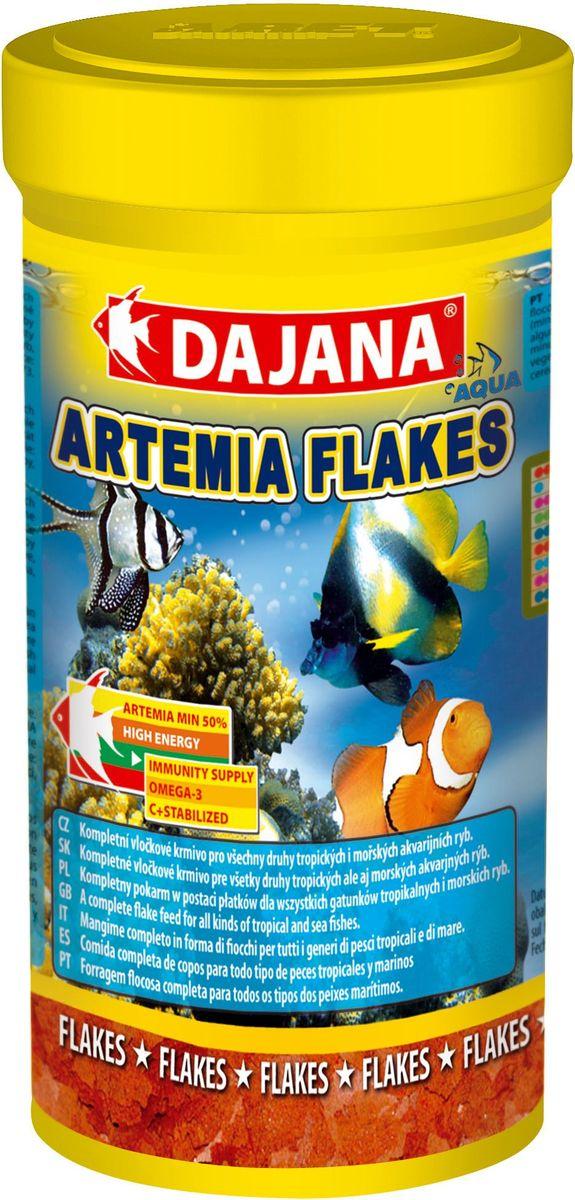 Корм для рыб Dajana Artemia Flakes, 100 млDP011AКомплексный хлопьеобразный корм для всех видов тропических и морских рыб. Хлопья содержат более 40 компонентов и специально обогащены Artemie, мелкомолотыми улитками, мягкотелыми и морскими улитками.