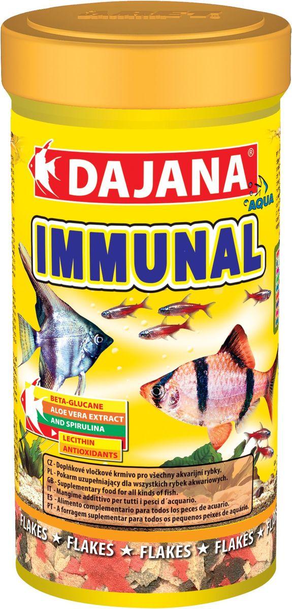 Корм для рыб Dajana Immunal Flakes, 100 млDP012AДополнительный хлопьеобразный корм для всех видов аквариумных рыб. Хлопья содержит бета-глюкан и экстракт алое-вера, способствующие укреплению иммунной системы организма.