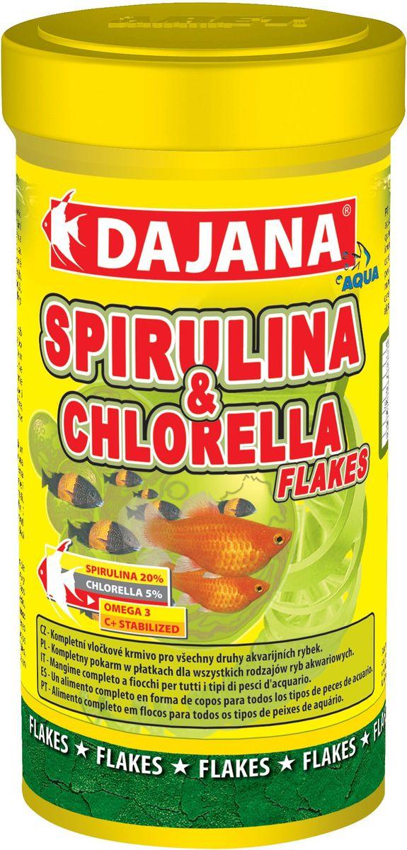 Корм для рыб Dajana Spirulina & Chlorella Flakes, 250 млDP013BКомплексный хлопьеобразный корм для всех видов рыб. Содержит 25% водорослей Spirulina и Chlorella, что составляет оптимальное соотношение для всех видов рыб.
