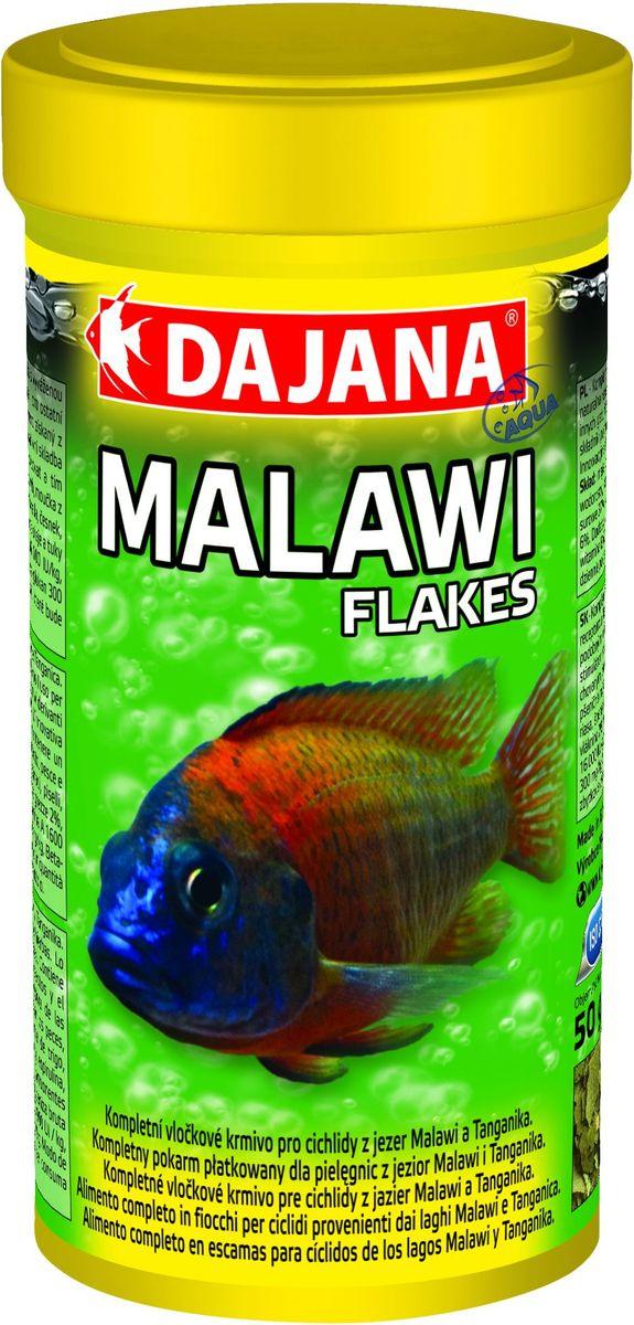 Корм для рыб Dajana Malawi Flakes, 250 млDP015B0Полнорационный хлопьевидный корм для семейства Сichlid Malawi. Содержит питательно важные компоненты, полученные из насекомых и натуральный иммуностимулятор бета-глюкан. Содержит специально сбалансированную смесь из водорослей, спирулина, ламинария, хлорелла для поддержания жизненных сил и улучшения пищеварения.