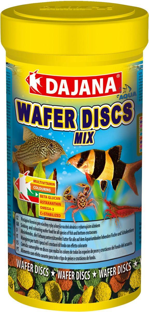 Корм для рыб Dajana Wafers Discs Mix, 100 млDP061AПолнорационный корм в виде цветных тонущих дисков для рыб и донных ракообразных, живущих на дне пресноводных и моских аквариумов.