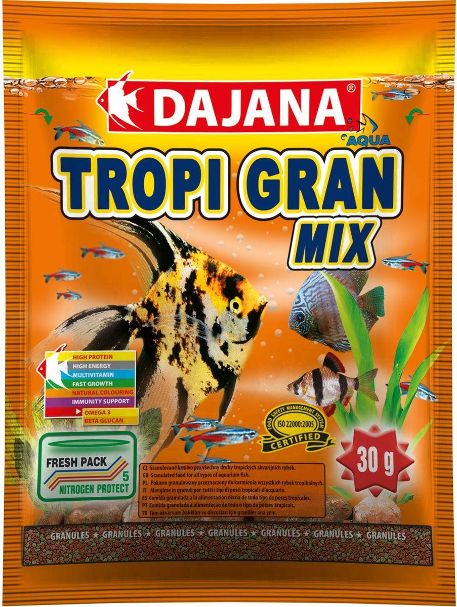 Корм для рыб Dajana Tropi Gran, 80 млDP100SВысококачественный корм для рыбок в виде гранул для всех видов тропических аквариумных рыбок. Идеально подходит для кормления дискусов. Содержит в составе витамины А, E, C, D3, а так же полезные микроэлементы.
