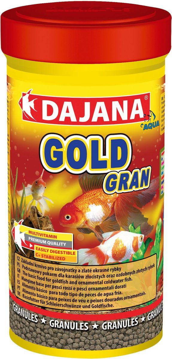 Корм для рыб Dajana Gold Gran, 100 млDP101AГранулированный корм для золотых карасей и золотых декоративных рыбок. Пестрая смесь отборного сырья и витаминов способствует хорошему росту и здоровью рыб.