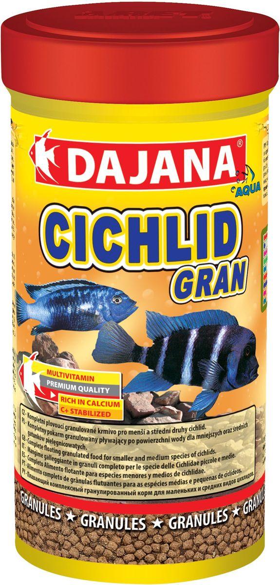 Корм для рыб Dajana Cichlid Gran, 1 лDP102DКомплексный гранулированный корм для маленьких и средних рыб семейства цихлид. Легкоусвояемые высококачественные протеины наряду с тщательно отобранными веществами и витаминами способствуют хорошему росту и сохранению здоровья рыбы.