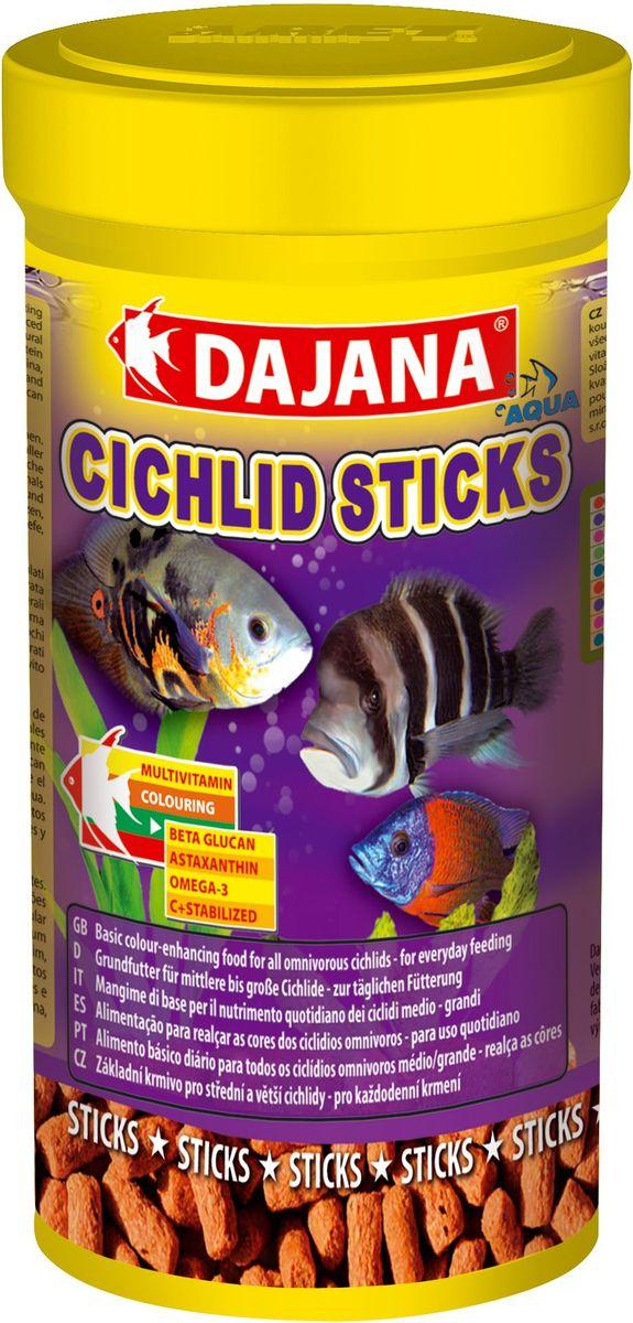Корм для рыб Dajana Cichlid Sticks, 1 лDP111DКомплексный корм плавающих палочек – стиксов для ежедневного кормления крупных и средних рыб семейства цихлид. Содержит широкий спектр натуральных ингредиентов, особенно растительных и животных белков, минералов и натуральных витаминов, а также природный стимулятор иммунной системы бета-глюкан. Обеспечивает правильное развитие рыбы, яркий окрас и дополнительную защиту организма ваших рыбок.
