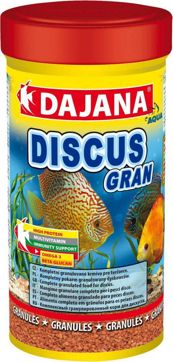 Корм для рыб Dajana Discus Gran, 250 млDP112BКомплексный гранулированный корм для дискусов. Гранулы корма состоят из отборных компонентов, содержащих множество витаминов аминокислот и минералов. Корм обогащен планктоном, прошедшим качественную обработку. Обеспечит великолепную окраску и здоровый рост рыбы. Содержит в составе витамины А, E, C, D3, а так же полезные микроэлементы, бета-глюкан и жирные кислоты Омега-3, способствующие укреплению иммунитета. Корм имеет отличные вкусовые качества, охотно съедается рыбами, легко усваивается, остатки не загрязняют аквариумную воду.