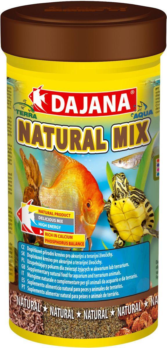 Корм для рыб и рептилий Dajana Natural Mix, 250 млDP204BУниверсальный природный корм из смеси сушеных дафний, трубочника и мотыля для всех видов аквариумных рыб, водяных пресмыкающихся и террариумых животных.