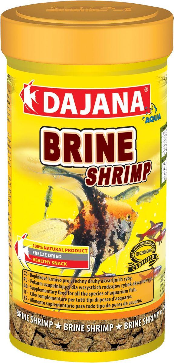 Корм для рыб Dajana Brine Srimp, 250 млDP207BВысушенные холодным методом взрослые ARTEMIE являются высококалорийным дополнительным кормом для всех видов аквариумных рыб в пресноводных и морских аквариумах. Изысканное лакомство с мощнейшим комплексом витаминов, минералов и питательных веществ. Оказывает уникальное восстановительное, лечебное и болеутоляющее действие.