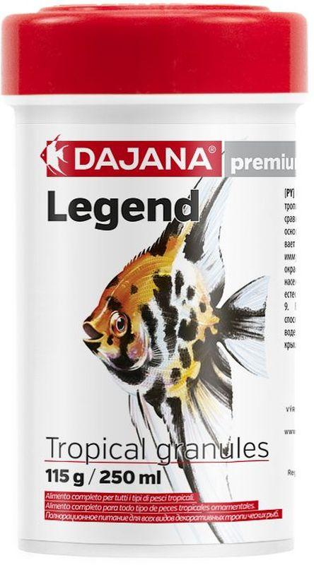 Корм для рыб Dajana Legend Tropical Granules, 250 млDP117B1Полнорационный корм в гранулах для всех видов декоративных рыб. Корм Legend изготавливается по новой премиум-формуле, ими титующей корм рыб в дикой природе, улучшает пищеварение укрепляет иммунную систему, помогает здоровой окраске рыб, снижает биологическую нагрузку в аквариуме.