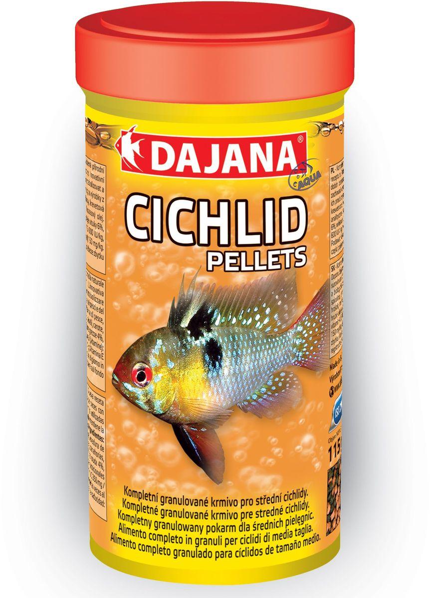 Корм для рыб Dajana Cichlid Pellets, 1 лDP122D0Комплексный гранулированный корм для маленьких и средних рыб семейства цихлид. Разнообразная смесь отборного сырья и витаминов способствует хорошему росту и здоровью рыб. Легкоусвояемые высококачественные протеины наряду с тщательно отобранными веществами и витаминами способствуют хорошему росту и сохранению здоровья рыбы.