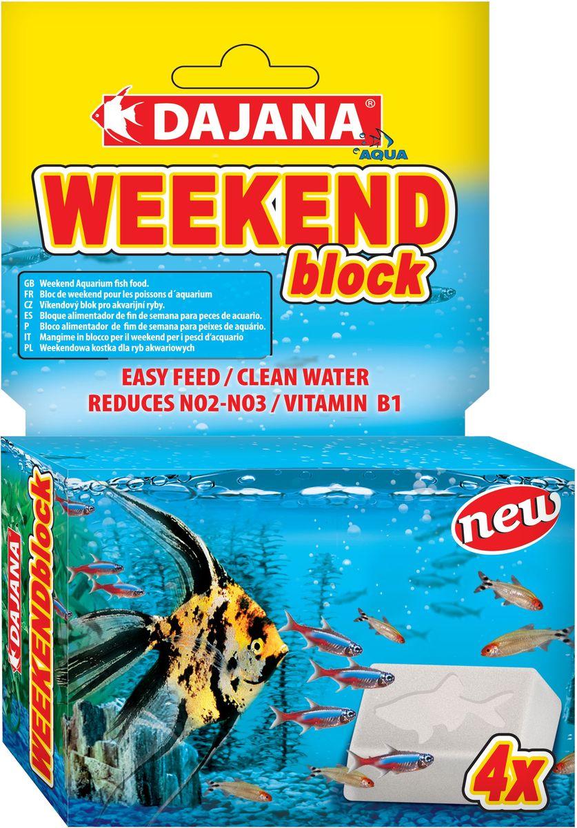 Корм для рыб Dajana Weekend Block, 25 г, 4 штDP130AБрикеты для кормления рыб во время длительного отсутствия в доме. Корм медленно растворяется, по мере его поедания рыбами.