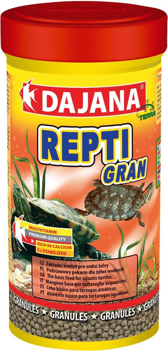 Корм для водных черепах Dajana Repti Gran, 250 млDP150BКорм для всех видов водных черепах. Смесь в оптимальном соотношении дает животным важные питательные вещества, включая кальций и фосфор, необходимый для правильного развития скелета и организма в целом.