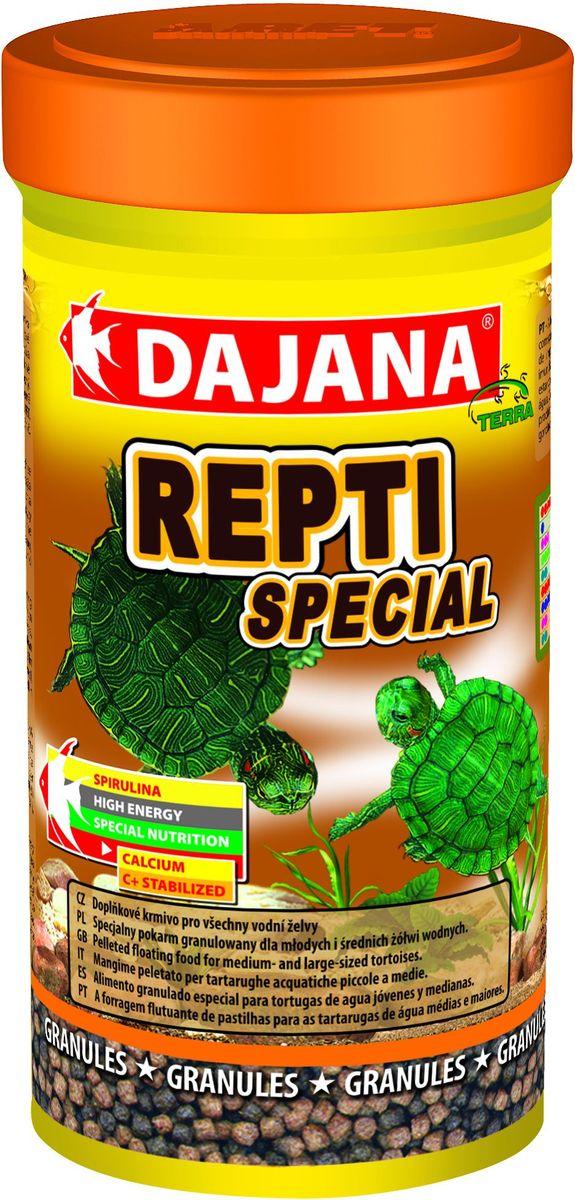 Корм для водных черепах Dajana Repti Special, 250 млDP152BДополнительный корм для всех водяных черепах. Плавающий корм в виде шариков для молодых и средних водяных черепах с содержанием спирулинны. Способствует развитию и повышению иммунитета молодого организма.