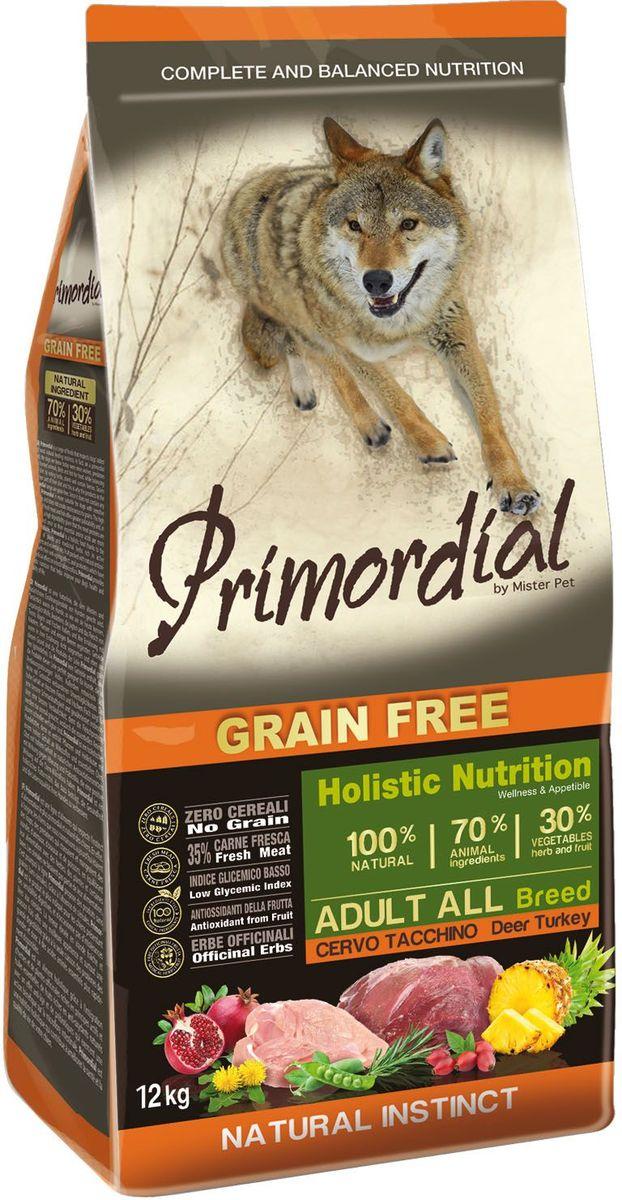 Корм сухой Primordial для собак, беззерновой, оленина и индейка, 12 кгMSP5612Беззерновой корм класса холистик. Специально отобранные виды мяса и рыбы поддерживают низкий гликемический индекс,гарантируют высокую аппетитность и перевариемость корма.