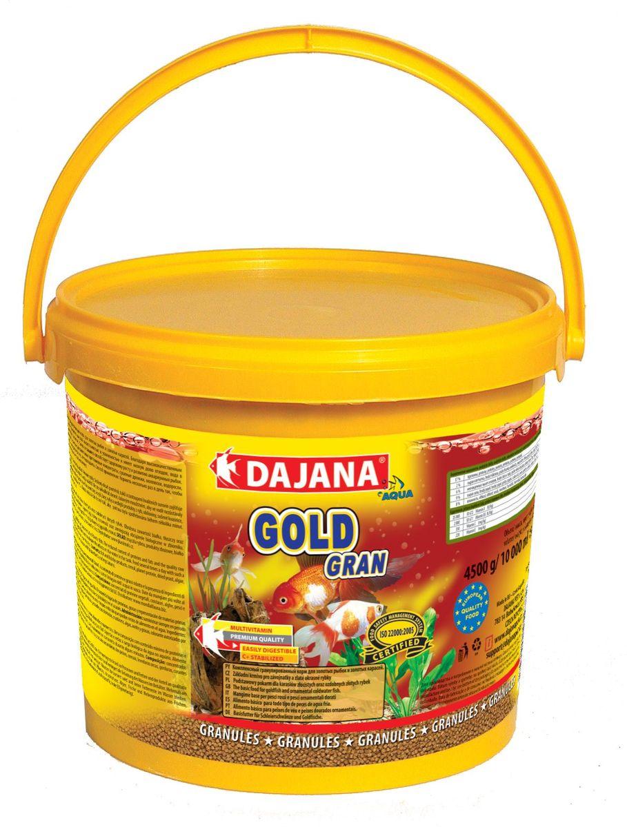 Корм для рыб Dajana Gold Gran, 10 лDP101GКомплексный корм в виде гранул для всех видов золотых рыб, включая их различные селекционные формы. При ежедневном использовании корма, вы можете рассчитывать на здоровый рост и великолепную форму ваших золотых рыб.Гранулированный корм содержит все необходимые питательные вещества высокого качества, стабилизированный витамин С, который улучшает иммунитет к инфекционным заболеваниям и стрессоустойчивость. Корм состоит из высококачественных, натуральных ингредиентов, поэтому хорошо усваивается и имеет низкую долю отходов.