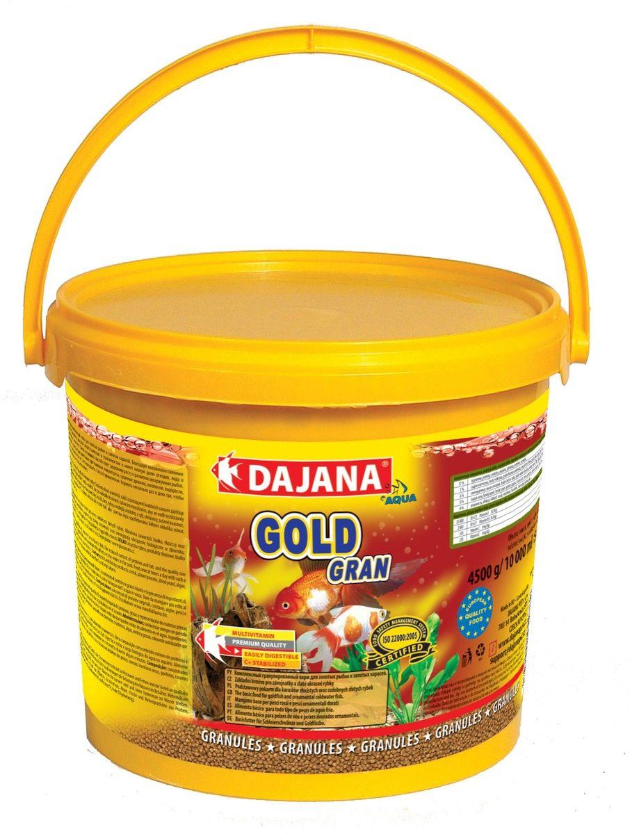 Корм для рыб Dajana Gold Gran, 5 лDP101FКомплексный корм в виде гранул для всех видов золотых рыб, включая их различные селекционные формы. При ежедневном использовании корма, вы можете рассчитывать на здоровый рост и великолепную форму ваших золотых рыб.Гранулированный корм содержит все необходимые питательные вещества высокого качества, стабилизированный витамин С, который улучшает иммунитет к инфекционным заболеваниям и стрессоустойчивость. Корм состоит из высококачественных, натуральных ингредиентов, поэтому хорошо усваивается и имеет низкую долю отходов.