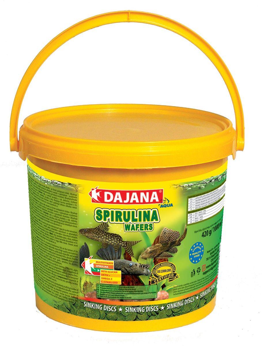 Корм для рыб Dajana Spirulina Wafers, 5 лDP060FКомплексный корм в виде тонущих пластинок для декоративных травоядных рыб, обитающих на дне аквариума. Идеален для всех видов сомиков. Содержит спирулину, шпинат, природный каротин и широкий диапазон высококачественных природных веществ в оптимальной сбалансированной формуле. Благодаря специальному рецепту приготовления, корм Dajana Spirulina Wafers не мутит воду аквариуме.