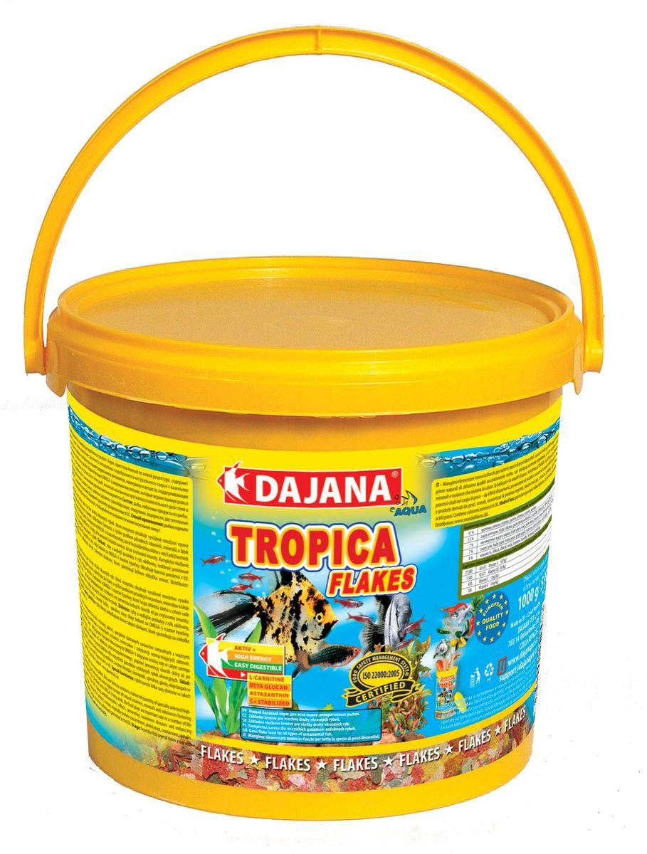Корм для рыб Dajana Tropica Flakes, 5 лDP000FВысококачественный корм, состоящий из хлопьев на каждый день, для всех видов декоративных аквариумных рыбок. Подходит для ежедневного кормления, состоит из более 50-ти видов тщательно отобранных, натуральных исходных продуктов.Хлопья содержат абсолютно все, в чем ежедневно нуждается рыбка в вашем аквариуме: мультивитаминный комплекс, стабилизированный витамин С, ценные минералы и микроэлементы. Питание этим кормом гарантирует здоровое развитие рыб, повышенную устойчивость к заболеваниям, активность, жизнерадостность и крепкий иммунитет.Благодаря натуральным продуктам, корм замечательно переваривается и усваивается в организме рыбок, не загрязняя воду в аквариуме.