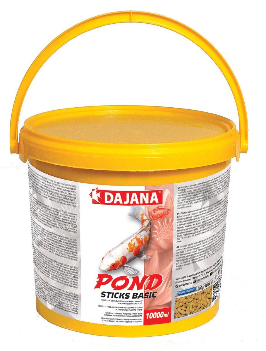 Корм для рыб прудовых Dajana Pond Stick Basic, 5 л (450 г)DP302FСбалансированный корм для декоративных карпов и золотых рыбок в форме плавающих палочек. Белые палочки содержат пшеничный зародыш- натуральный источник витамина Е. Плавающий корм, упрощающий кормление декоративных рыб в садовых прудах.