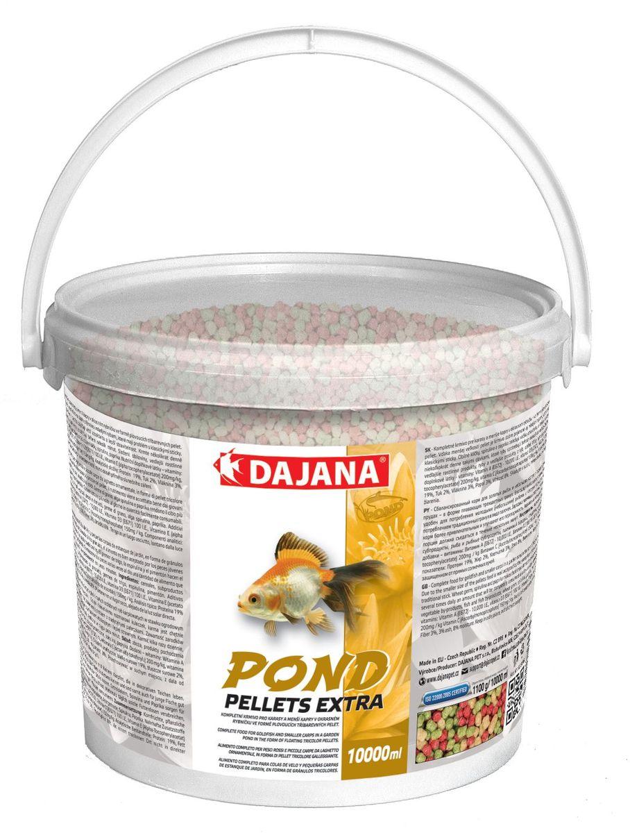 Корм для рыб прудовых Dajana Pond Pellets Extra, 5 л (550 г)DP308FСбалансированный корм для декоративных карпов и золотых рыбок и небольших карпов в садовых (декоративных) прудах - в форме трёхцветных плавающих гранул. Плавающий корм, упрощающий кормление декоративных рыб.