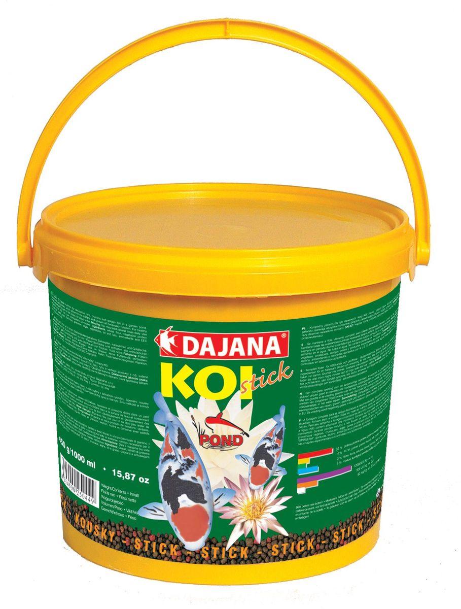 Корм для рыб прудовых Dajana Koi Stick, 5 л (2,25 кг)DP303FКомплексный корм для декоративных карасе.Специальные кусочки хорошо держатся на воде и содержат все питательные вещества необходимые для развития и роста рыб. Kормите несколько раз в день так, чтобы рыбы съели корм в течение нескольких минут.