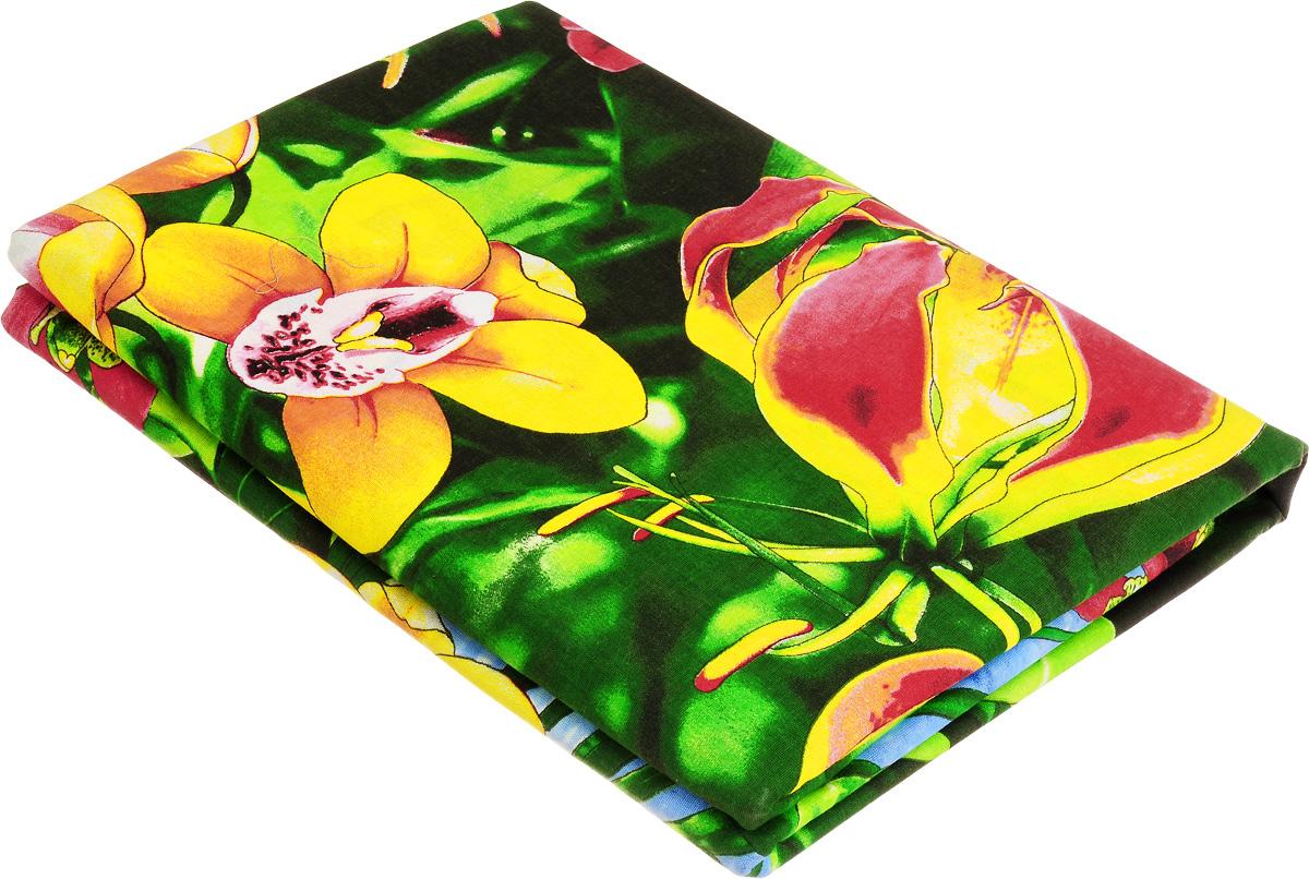 Комплект белья МарТекс Райский уголок, 1,5-спальный, наволочки 70х70, цвет: зеленый, красный, желтый01-0979-1Комплект МарТекс Райский уголок состоит из пододеяльника на молнии, простыни и двух наволочек. Постельное белье, выполненное из бязи (100% хлопка), оформлено ярким рисунком с эффектом 3D и имеет изысканный внешний вид. Бязь - хлопчатобумажная ткань полотняного переплетения без искусственных добавок. Большое количество нитей делает эту ткань более плотной, более долговечной. Высокая плотность ткани позволяет сохранить форму изделия, его первоначальные размеры и первозданный рисунок. Приобретая комплект постельного белья МарТекс Райский уголок, вы можете быть уверенны в том, что покупка доставит вам и вашим близким удовольствие и подарит максимальный комфорт.