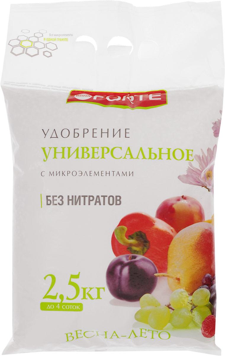 Удобрение универсальное Bona Forte, гранулированное, с микроэлементами, 2,5 кгBF-23-01-013-1Комплексное гранулированное удобрение Bona Forte - незаменимый помощник в битве за урожай. Удобрение подходит для овощных, плодово-ягодных, цветочных культур и газонов. Произведено удобрение по уникальной передовой технологии «ALL IOG». Удобрение содержит основные элементы питания в легкоусвояемой форме и сбалансированном соотношении, способствует хорошему росту растений и получению высокого урожая. Вес: 2,5 кг. Уважаемые клиенты! Обращаем ваше внимание на возможные изменения в дизайне упаковки. Качественные характеристики товара остаются неизменными. Поставка осуществляется в зависимости от наличия на складе.