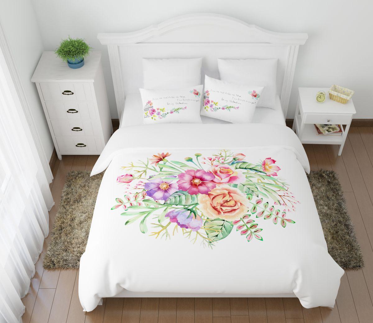 Комплект белья Сирень Вальс цветов, 1,5-спальный, наволочки 50x7008616-КПБ-МКомплект постельного белья Сирень выполнен из прочной и мягкой ткани. Четкий и стильный рисунок в сочетании с насыщенными красками делают комплект постельного белья неповторимой изюминкой любого интерьера. Постельное белье идеально подойдет для подарка. Идеальное соотношение смешенной ткани и гипоаллергенных красок это гарантия здорового, спокойного сна. Ткань хорошо впитывает влагу, надолго сохраняет яркость красок. Цвет простыни, пододеяльника, наволочки в комплектации может немного отличаться от представленного на фото. В комплект входят: простынь - 150х220см; пододельяник 145х210 см; наволочка - 50х70х2шт. Постельное белье легко стирать при 30-40 градусах, гладить при 150 градусах, не отбеливать.Рекомендуется перед первым изпользованием постирать.