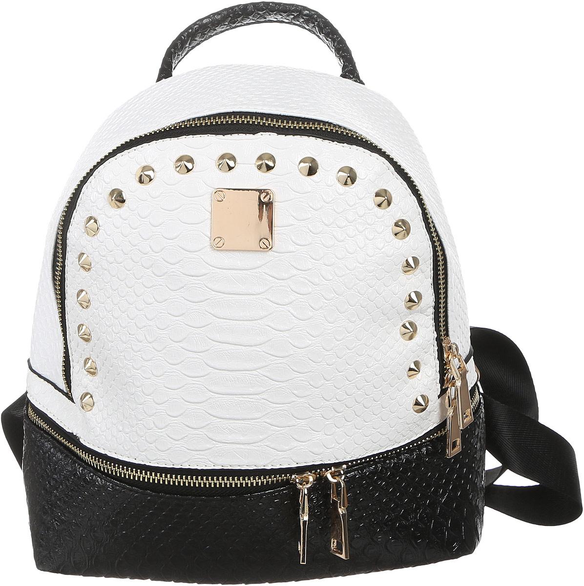 Рюкзак женский DDA, цвет: белый, черный. SB-1045SB-1045 WB