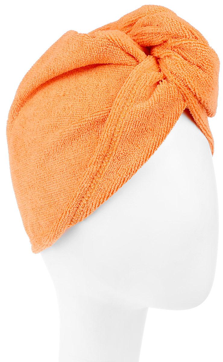 Чалма для сушки волос Eva, цвет: оранжевыйБ901Чалма для сушки волос Eva выполнена из высококачественного полиэстера и полиамида. Изделие обеспечивает легкую и комфортную сушку волос после мытья, держится и выглядит лучше обычного полотенца. Чалма также может использоваться при нанесении макияжа и косметических процедурах, для защиты волос в сауне. Прекрасно впитывает влагу и подходит для волос любой длины.