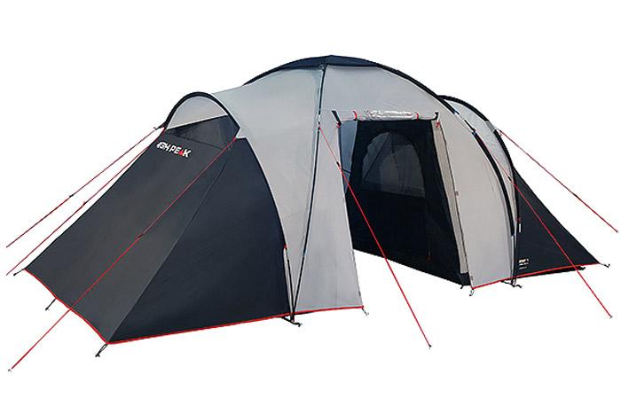 Палатка High Peak Como 4, цвет: светло-серый, темно-серый, 470 х 230 х 190 см. 1023110231Como 4 - большая кемпинговая палатка для отдыха большой компанией или семьей. Конструкция с внешними дугами позволяет создать обширный купол для столовой и кухни. Подвесив две спальни, можно разместить по два человека в каждой комнате. Особенно это удобно, когда в поход выезжают две пары, или для создания отдельной детской спальни. Высота купола в середине палатки около 190 см позволяет взрослому стоять в полный рост. Из тамбура палатки ведут 2 выхода на две стороны. На пологе, закрывающем вход, находится прозрачное окно. Материал тента имеет полиуретановое покрытие и водонепроницаемость не менее 3000 мм водяного столба. Это позволяет защититься от ветра и дождя. Все швы проклеены термоусадочной лентой, гарантирующей, что влага не проникнет сквозь них. Дно палатки сделано из прочного водонепроницаемого армированного полиэтилена. Палатка достаточно устойчива, так как имеет множество ветровых оттяжек. Край тента обшит яркой стропой, которая усиливает палатку по краю и отмечает периметр...