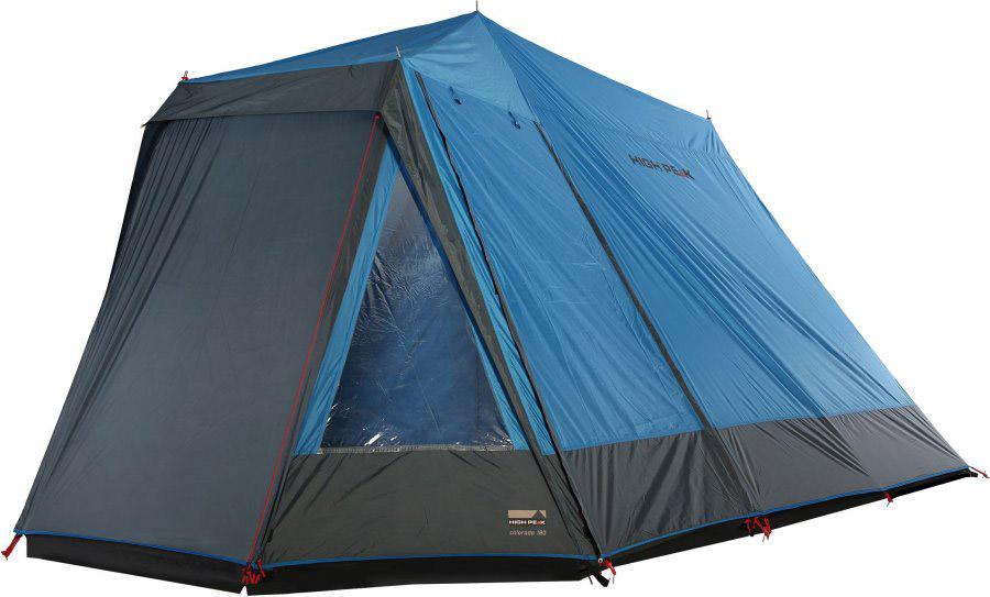 Палатка High Peak Colorado 180, цвет: синий, темно-серый, 440 х 240 х 190 см. 1025510255Семейная кемпинговая палатка классической конструкции домик. Обширный тамбур для багажа или кухни с торцевым и боковым входами и торцевыми окнами. По периметру тамбур закрывается юбкой от ветра, дождя и комаров. Большая спальня на четырех взрослых человек с входом, закрывающимся как тканевым пологом, так и москитной сеткой. Вход во внутреннюю палатку расстегивается на две равные половины. Если становится жарко, достаточно раскрыть пологи входа и оставить москитную сетку на входе для хорошей вентиляции. Материал тента имеет полиуретановое покрытие и водонепроницаемость не менее 2000 мм водяного столба, что защитит вас даже при сильном дожде. Все швы проклеены термоусадочной лентой, гарантирующей, что влага не проникнет сквозь них. Материал внутренней палатки - парапроницаесый полиэстр. Дуги: Сталь 19 мм Тент: Полиэстер 190Т 2000 мм Дно: Армированный полиэтилен (3000 мм)