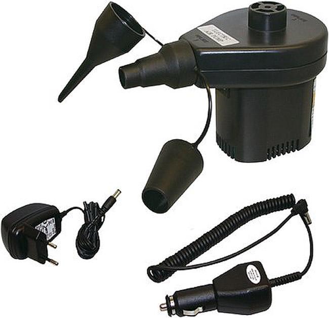 Насос для надувных кроватей High Peak Akku Elektropumpe, 12В/220В, цвет: черный49718Универсальный насос для надувных кроватей. Насос может как надувать, так и сдувать кровать. Насос работает как от прикуривателя в машине, так и от розетки в 220 вольт. В комплект входят три адаптера на разные диаметры клапанов.