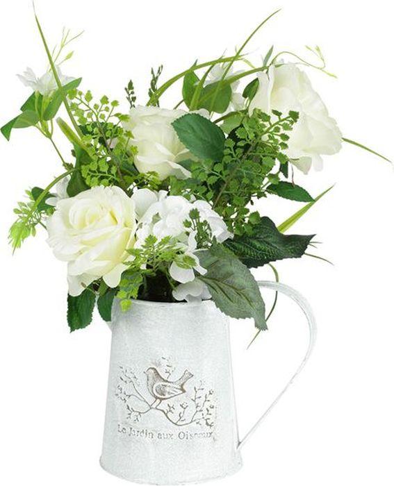 Цветы декоративные Dream Garden Розы белые, в жестяном кувшинеDG-15088-ALКомпозиции из искусственных цветов растений в оригинальных вазах и вазонах из керамики, стекла, металла - для декоративного оформления интерьеров квартир, домов, офисов, ресторанов, кафе, банкетных залов, номеров и холлов отелей, салонов красоты, фитнес-клубов…. Композиции не уступают красоте живых цветов, подчеркивают индивидуальность и создают цветочное настроение! Композиции из искусственных цветов долговечны, не требуют ежедневного ухода, выполнены из натуральных шелка и текстиля, прошедших специальную обработку высококачественными современными материалами. Искусственные цветы максимально приближены к натуральным, не пахнут, что исключает все аллергические реакции. Композиции из искусственных цветов – это прекрасный подарок в любой дом!