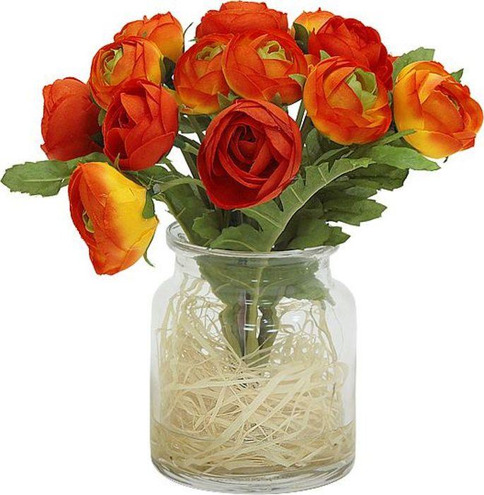 Цветы декоративные Dream Garden Купальницы оранжевые, в стеклянной вазеDG-JA6035-ORКомпозиции из искусственных цветов растений в оригинальных вазах и вазонах из керамики, стекла, металла - для декоративного оформления интерьеров квартир, домов, офисов, ресторанов, кафе, банкетных залов, номеров и холлов отелей, салонов красоты, фитнес-клубов…. Композиции не уступают красоте живых цветов, подчеркивают индивидуальность и создают цветочное настроение! Композиции из искусственных цветов долговечны, не требуют ежедневного ухода, выполнены из натуральных шелка и текстиля, прошедших специальную обработку высококачественными современными материалами. Искусственные цветы максимально приближены к натуральным, не пахнут, что исключает все аллергические реакции. Композиции из искусственных цветов – это прекрасный подарок в любой дом!