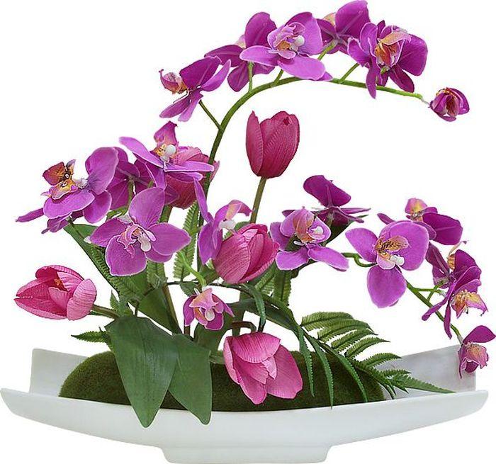 """Цветы декоративные Dream Garden """"Орхидея сиреневая c тюльпанами"""", на подставке DG-JA6102"""