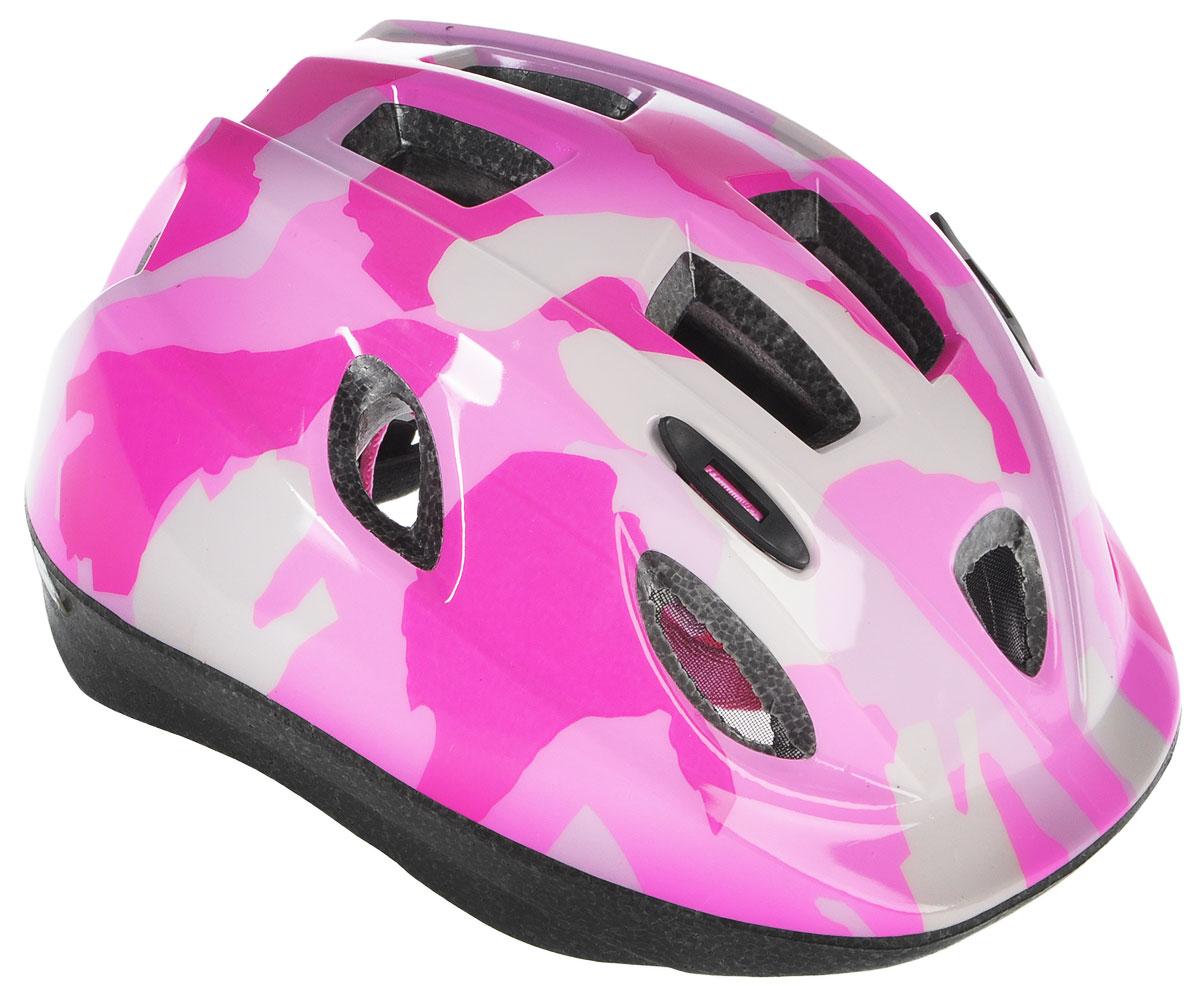 Шлем летний BBB Boogy. Камуфляж, цвет: розовый, белый. Размер MBHE-37Детский шлем BBB Boogy. Камуфляж предназначен для велосипедистов, скейтбордистов и роллеров. Изделие снабжено настраиваемыми ремешками для максимально комфортной посадки. Система TwistClose - позволяет настроить шлем одной рукой. Увеличенное количество вентиляционных отверстий гарантирует отличную циркуляцию воздуха на разных скоростях движения при сохранении жесткости. Шлем оснащен съемными мягкими накладками с антибактериальными свойствами. Внутренняя часть изделия изготовлена из пенополистирола. Ее роль заключается в рассеивании энергии при ударе, что защищает голову. Верхняя часть шлема, выполненная из прочного пластика, препятствует разрушению изделия, защищает шлем от прокола и позволять ему скользить при ударах. Способность шлема скользить по поверхности является важной его характеристикой, так как при падении движение уменьшается не сразу, а постепенно, снижая тем самым нагрузку на голову и шею. Надежный шлем с...
