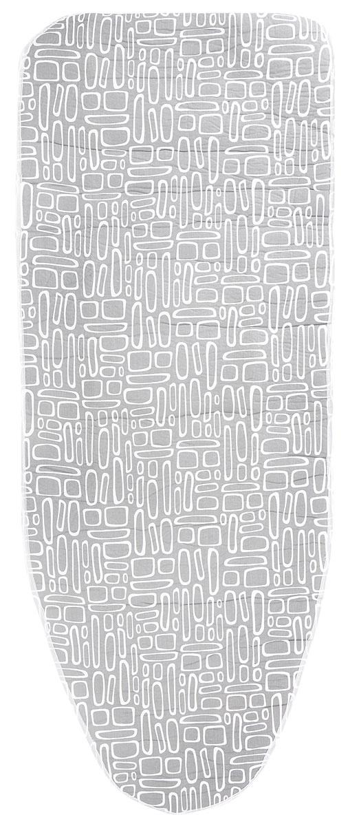 Чехол для гладильной доски Paterra, антипригарный, с поролоном, цвет: серый, белый, 126 х 46 см402-485_серый, белыйАнтипригарный чехол для гладильной доски Paterra необходим для обеспечения идеального результата в процессе глажения вещей. Он имеет хлопковую основу с особой антипригарной пропиткой из силикона, которая исключает пригорание одежды к чехлу в процессе глажения. Силиконовая пропитка обеспечивает эффект двустороннего глажения: чехол, нагреваясь, отдает тепло вещам. Натуральный хлопок в составе обеспечивает максимальную скорость скольжения утюга и 100% паропроницаемость. Хлопковый чехол имеет подкладку из поролона (мягкого пенополиуретана) оптимальной толщины (4 мм), которая не истончается со временем. Затяжной шнур определяет удобную и надежную фиксацию чехла на доске. Кроме того, наличие шнура делает чехол пригодным для гладильной доски любой формы и меньшего размера. Край хлопкового чехла обработан особой лентой, предотвращающей распускание ткани. Устойчивый рисунок сохраняется длительное время, даже под воздействием высоких температур. Размер чехла: 126...