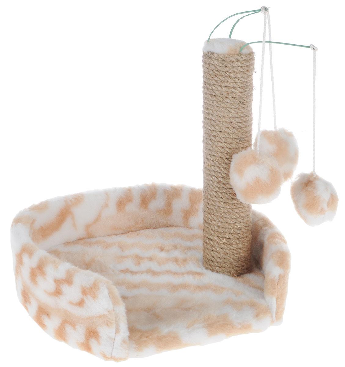 Когтеточка для котят Меридиан, с лежанкой, цвет: белый, бежевый, 34 х 26 х 34 смК705ЦвКогтеточка Меридиан предназначена для стачивания когтей вашего котенка и предотвращения их врастания. Она выполнена из ДВП и ДСП и обтянута искусственным мехом. Точатся когти о столбик из джута. Когтеточка оснащена подвесными игрушками, привлекающими внимание котенка. Внизу имеется спальное место. Когтеточка позволяет сохранить неповрежденными мебель и другие предметы интерьера.