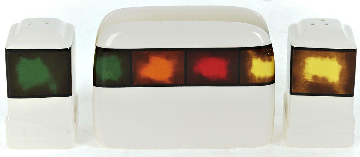 Набор для специй ENS Group Мармелад, 3 предмета0050014Набор для специй и салфетница Мармелад выполнены из высококачественной керамики. Благодаря своим компактным размерам не займет много места на вашей кухне. Солонка, перечница и салфетница декорированы ярким оригинальным орнаментом. Набор Мармелад станет отличным подарком каждой хозяйке.