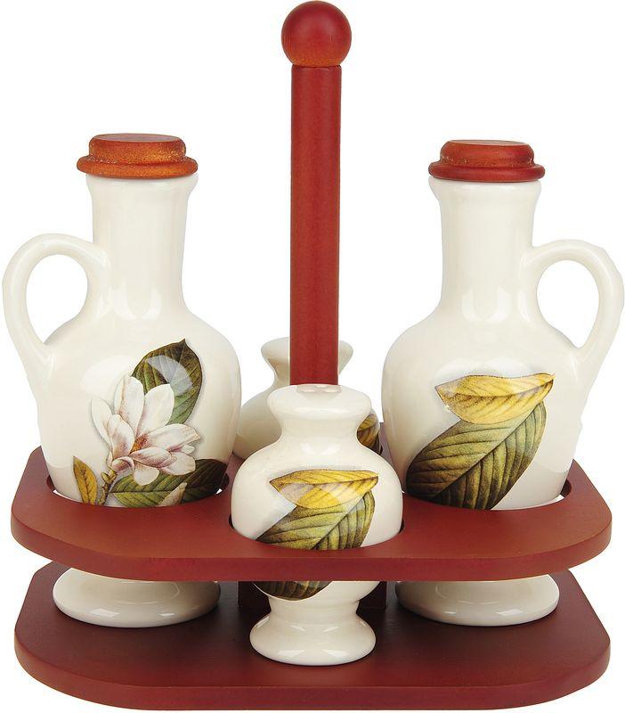 Набор для специй Танго Магнолия, 5 предметов0910007Набор для специй Танго Магнолия выполнен из доломита. Набор состоит из двух бутылок для масла, солонки, перечницы и подставки. Благодаря своим компактным размерам не займет много места на вашей кухне. Изделия декорированы оригинальным рисунком. Набор Танго Магнолия станет отличным подарком каждой хозяйке.