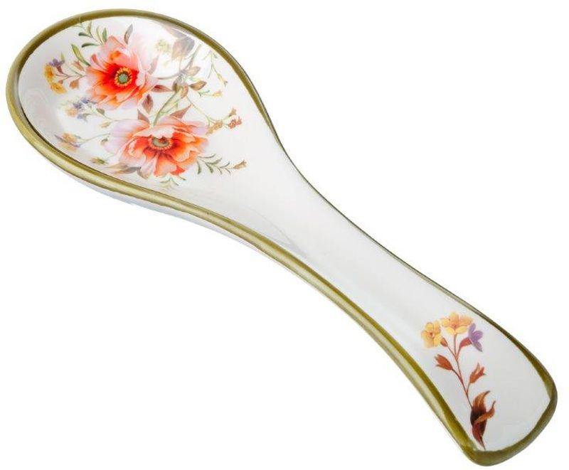 Подставка под ложку Весна, длина 22,3 см824728Подставка для ложки Весна изготовлена из прочной керамики высокого качества. Данное изделие оформлено красочным цветочным дизайном. Подставка предназначена для поддержания чистоты на кухонном столе при приготовлении пищи. Поставьте ее рядом с плитой, и кладите на подставку ложку, половник или лопатку, которыми вы помешиваете блюда.