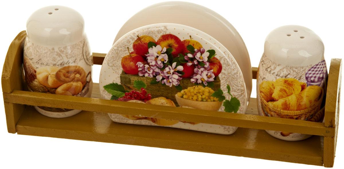 Набор для специй Polystar Хлеб, 4 предметаL1581889Набор для специй и салфетница Хлеб выполнены из высококачественной керамики, на деревянной подставке. Благодаря своим компактным размерам не займет много места на вашей кухне. Солонка, перечница и салфетница декорированы ярким оригинальным рисунком. Набор Хлеб станет отличным подарком каждой хозяйке.